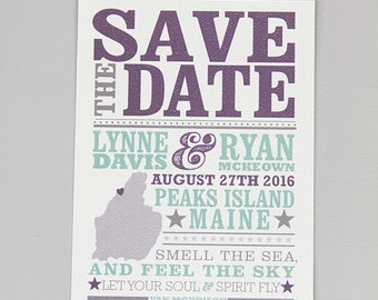 Hatch Inspired Purple and Seaglass  // Save The Date Standard Postcard: Get Started Deposit