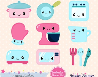 INSTANT DOWNLOAD - Kawaii Kitchen Clipart and Vectors for personal and commercial use