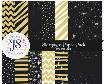 80% OFF - INSTANT DOWNLOAD, Black and Gold Digital Papers for personal and commercial use