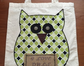 Cotton owl tote bag