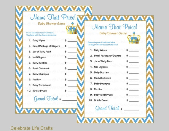 Name That Price Baby Shower Game Baby Boy Printable Baby Shower