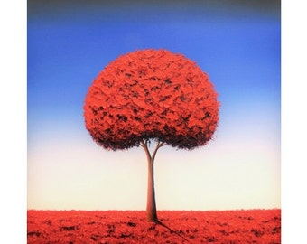 Fantasy Art Tree Print, Red Tree Art Print, Red Wall Decor, Dreamscape Wall Art, Blue Sky Contemporary Art Giclee Print, Modern Minimalist