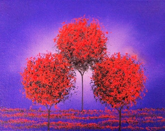 Whimsical Tree Art Print, Red Tree Dreamscape, Contemporary Abstract Landscape Print, Giclee Print of Modern Abstract Painting, 5x7, 9x12