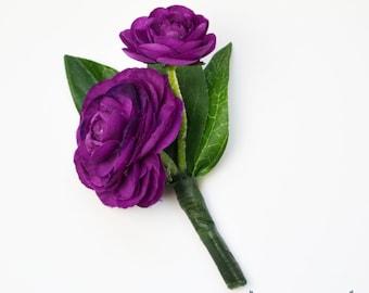 Boutonniere - Violet, Dark Purple, Ranunculus, Boutonniere, Wedding Boutonniere, Silk Boutonniere, Bout, Button Hole, Wedding, Groom