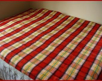 Vintage Wool Blanket Colorful Plaid