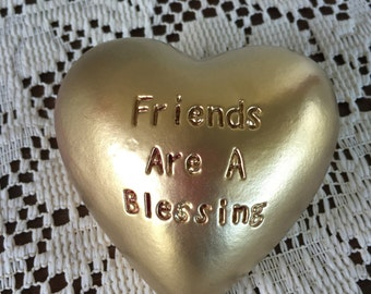 Metallic Gold Heart Rock w/Etched Phrase  'Friends Are A Blessing'