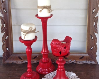 Bird Theme Candle Holder Grouping - Set of 3 Red Table Top Pillar Candle Holders - Cottage Chic Beach Mantel Dining Table Decor