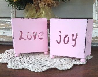 Metal Shabby Chic Candleholder Boxes - Pink Table Top Taper Holders - Set of 2