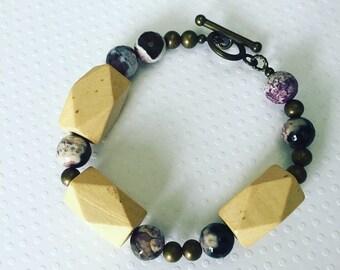 Bracelet. Handmade jewelry. Chunky wood bracelet. Purple and wood bracelet. Boho jewelry. Unique jewelry. Sugarplum Gallery.