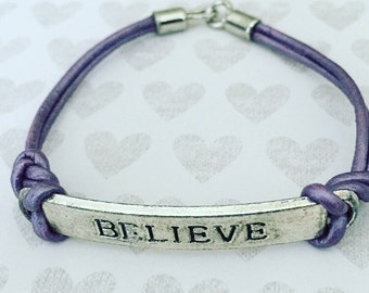 Purple Leather Bracelet. Believe Bracelet. Chic. Leather Cord Bracelet. Unique Bracelet. Inspiration. Sugarplum Gallery.
