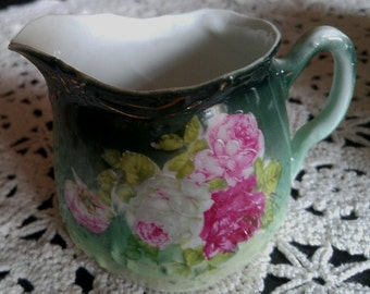 Sweet Floral Green Creamer with Flowers