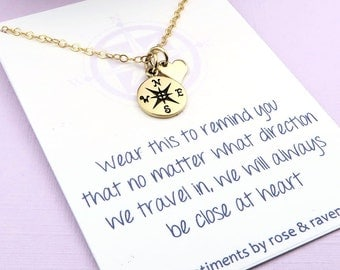 Best Friends Compass Necklace - message card - gold compass travel jewelry - friends close at heart - enjoy the journey - graduation gift