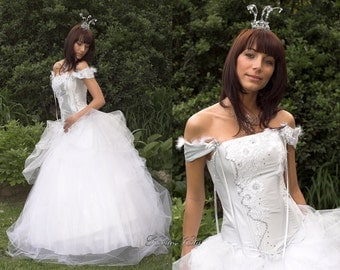 Cinderella Style Fairy Tale Inspired Silver Corseted Wedding Gown - Persephone