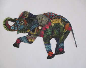 "Elephant Patch Embroidered Large 8"" Applique"