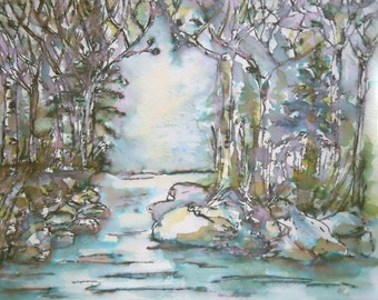 """ORIGINAL watercolor and ink painting, NOT a print. """"Water's Solace"""""""