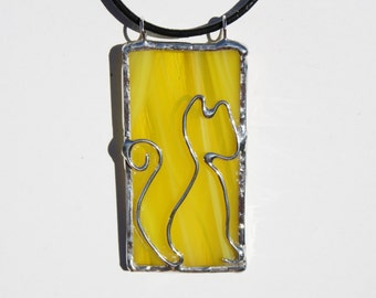 Yellow Cat Necklace Original Stained Glass Pendant on Leather Necklace