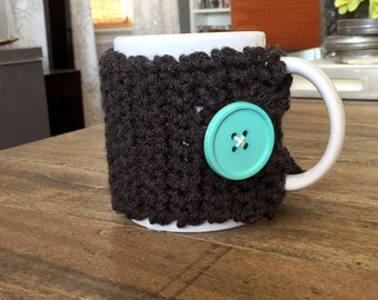 Charcoal Gray Mug Cozy, Crochet Cup Cover. Reusable Mug Cozy Gift for Her under 30. Last minute gift for mom, mother in law, best friend.