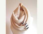 SALE Cream Infinity Scarf Black Buttons Neck Warmer Scarves Women Girls Fall Winter Accessories