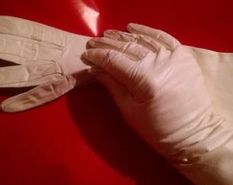 White Long Kid Skin Gloves