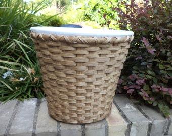 Medium Waste Basket with White Liner Wood Base Basket Trash Basket Handwoven Basket