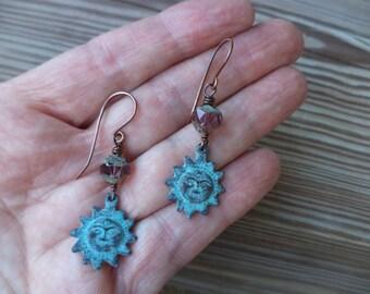 Sun Earrings Turquoise Blue Earrings Copper Earrings Dangle Drop Earrings Cute Earrings Mykonos Greek Sun Earrings