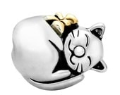 Sleeping Kitty Spacer Bead for  European Style Charm Bracelet - Silver Plated