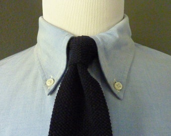 CLASSIC Vintage Resilio 100% Cotton Black SKINNY Knit Knitted Woven Trad / Ivy League Neck Tie.  Made in USA.