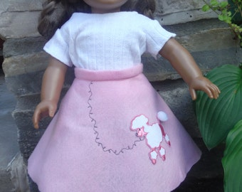 18 Inch doll 50's style pink poodle skirt and top  by Project Funway on Etsy