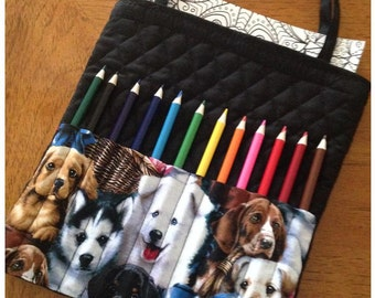 Dog Lover's Personalized Coloring Book and Pencil Tote for adults and teens