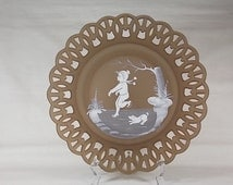 Circa 1975 Westmoreland Mary Gregory Plate Boy & Dog Ice Skating #30-1 Brown Satin Mist Handmade Glass with Open Wicker Lace Style Rim - T