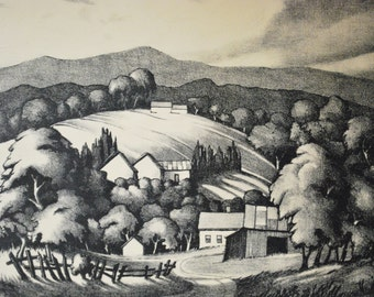 Vintage Landscape Mountains Lithograph Stowell Sherman 1950's