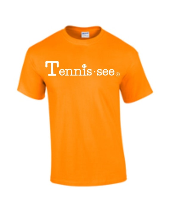 Tennis.see® Tennis Tennessee  Tshirt Tee Shirt Mens Womens Unisex White Orange