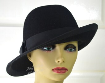 Black Felt Unisex Bowler / Fedora / Fall Winter Hat