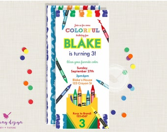 Crayon Invitation Set //  Personalized // Printable // Thank You Cards // Address Labels // Art Party