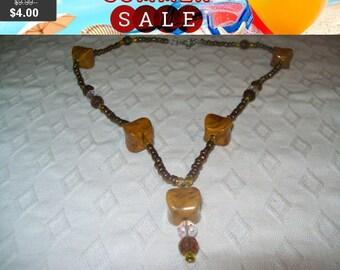 SALE 60% Off Tan Beaded pendant necklace, pendant necklace