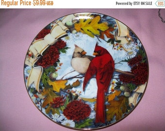 50% OFF Bird collectors Plate, Cardinals in the Golden Fall, Franklin Mint Heirloom Recommendation series