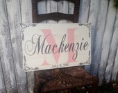 Custom Baby Child Name Distressed Pallet Style Sign Corner Flourishes DOB Initial 14x22 Baby Shower Gift
