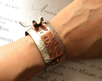 Inspirational Copper Silver Dragonfly Bangle/Cuff