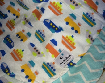 Planes, trains, submarines! Bany boy XL flannel double layer blanket