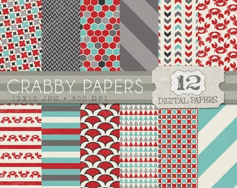 Crab Digital Paper Pack, Red, Gray, and Blue Digital Paper, crabs and patterns backgrounds - Instant Download