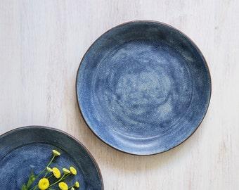 Ceramic plate, blue wash matt Stoneware plate, Modern dinnerware plate, Handmade Ceramic Plate, indigo blue Serving Plate, Housewarming Gift