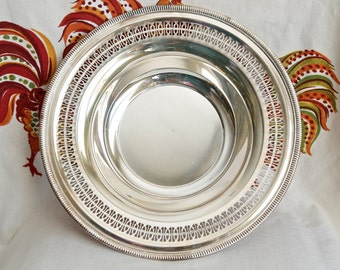 Vintage silver plate bowl...lattice rim bowl…WM Rogers 4235 bowl…openwork rim.