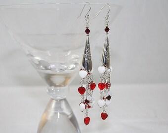 Sweet Heart Dangle Earrings Red Heart Earrings Heart Wedding Earrings Gift for Her