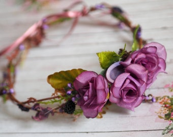 Purple Hair Accessory, Wedding Halo, Rose Hair Accessory, Boho Hair Crown, Flower Circlet, Rose Head Piece, Purple Hairpiece