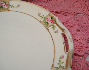Vintage Wedding Dinner Plates Nippon Plates Handpainted Pink Rose Set of 2 Shabby Cottage Chic Vintage Bridal Shower