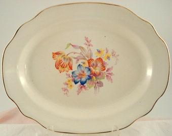 Vintage Oval Platter Floral Platter Lilies Tulip Cottage Garden Shabby Cottage Chic Platter Ivory