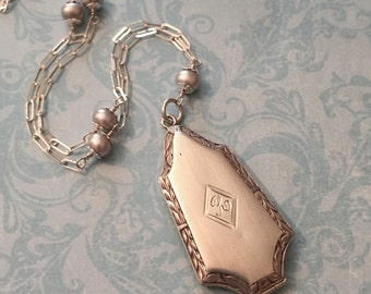 Art Deco Silver Locket, Initial R, Aquamarine and Peacock Pearl Chain, Gift for Her