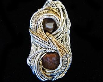 lake superior agate wire wrap pendant in sterling, fine silver, gold fil.