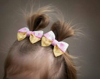 Baby Hair bows, 1st birthday headband, Toddler Hair bows, Tiny bows, Toddler Gift, Ice Cream Bows, Twins First birthday, Cute Pink hair clip