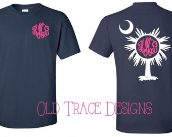 South Carolina Palmetto Monogram Shirt Available in Long or Short Sleeve